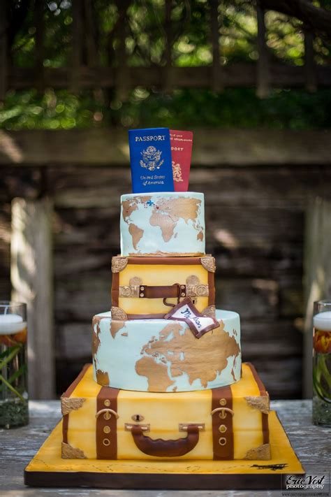 4-tiered travel themed wedding cake with edible passport