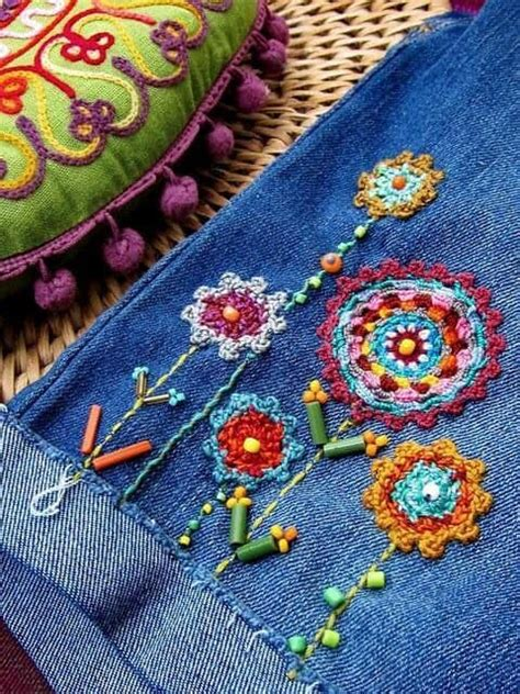 Embroidery for old jeans - Simple Craft Ideas