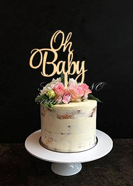 Oh Baby Cake Topper for Baby Shower Cake Decoration Wooden