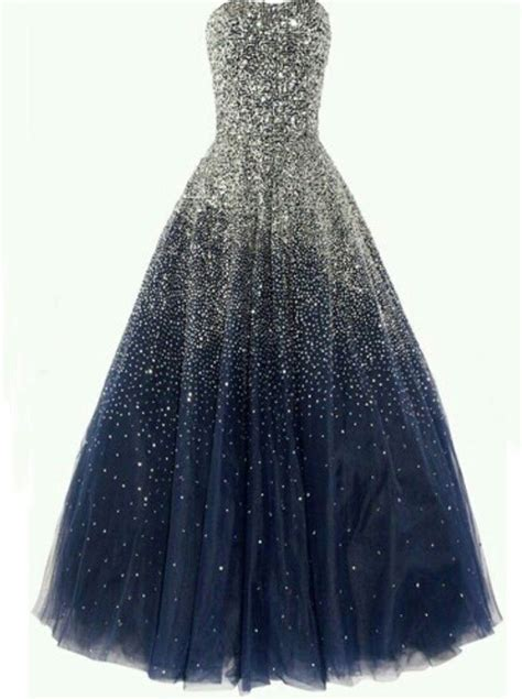 Buy Simple-dress Luxurious Strapless Blue Sequined Tulle