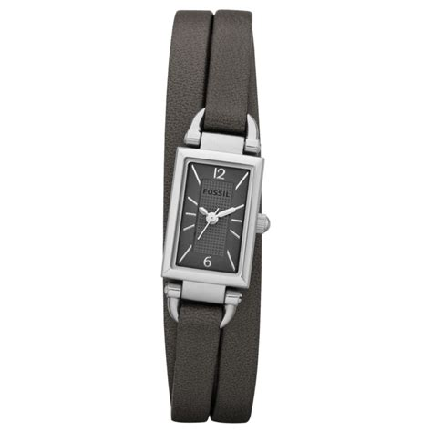 Fossil Womens Ash Leather Triple Wrap Strap Watch in Gray