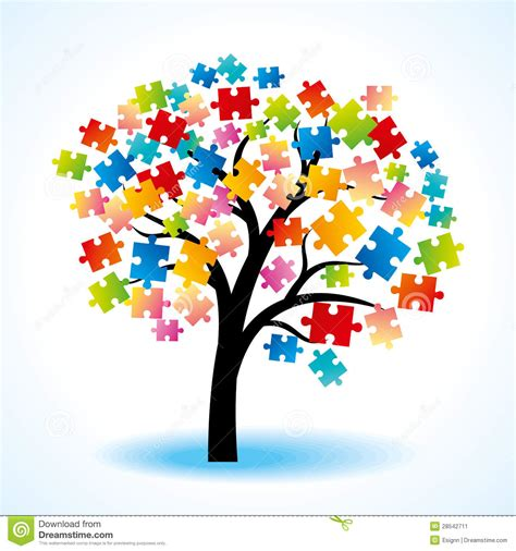 Abstract Tree Colorful Puzzle Stock Image - Image: 28542711